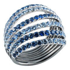 18 Karat White Gold Blue Sapphires Ring Aenea Jewellery