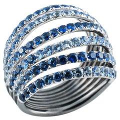 18 Karat White Gold Blue Sapphires Ring Aenea Jewellery