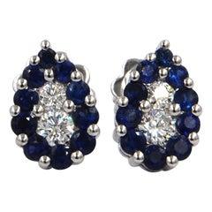 18 Karat White Gold Blue Sapphires White Diamonds Garavelli Stud Earrings