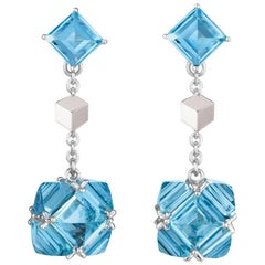 Paolo Costagli 18 Karat White Gold Blue Topaz, 19 Carat Very PC Earrings, Petite