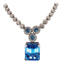 18 Karat White Gold, Blue Topaz '27.42 Carat', Diamonds '4.70 Carat' Necklace