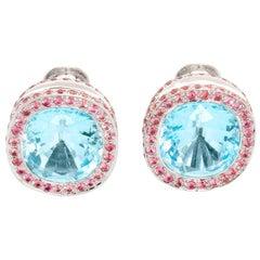 18 Karat White Gold Blue Topaz and Pink Sapphire Earrings