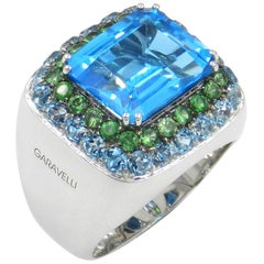 18 Karat White Gold Blue Topaz and Tsavorite Garavelli Ring