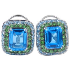 18 Karat White Gold Blue Topaz and Tzavorite Garavelli Earrings