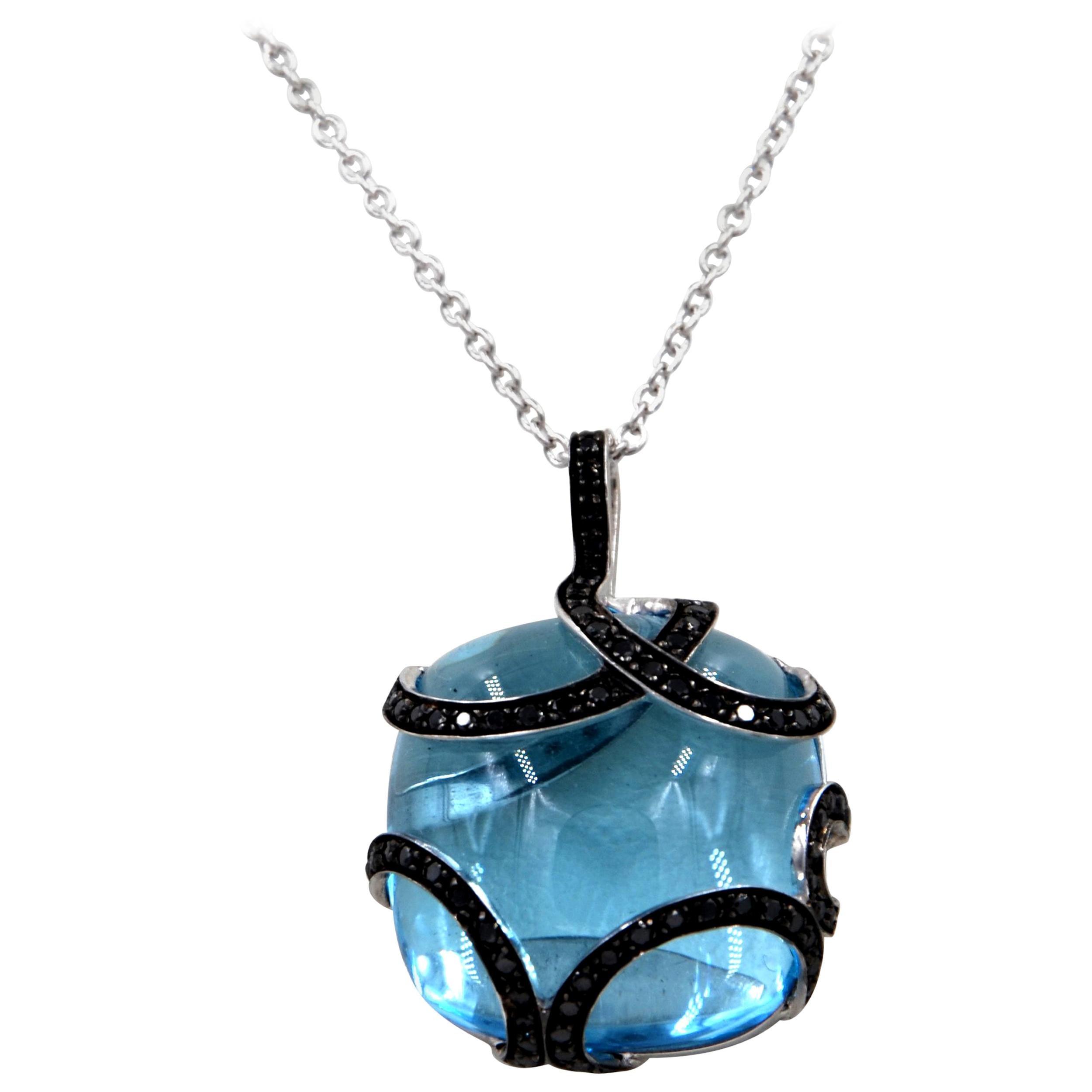18 Karat White Gold Blue Topaz Black Diamonds Garavelli Pendant Necklace