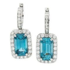 18 Karat White Gold Blue Zircon Diamond Drop Earrings by Campanelli & Pear