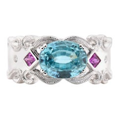 18 Karat White Gold Blue Zircon, Pink Sapphire, and Diamond Ring