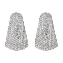 AS29 18 Karat White Gold Bombee Pear Shaped Diamond Earrings