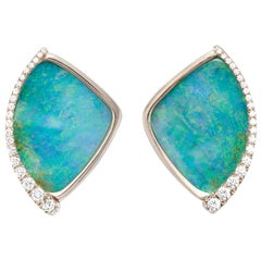 18 Karat White Gold Boulder Opal and Diamond Earrings