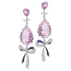 18 Karat White Gold Bow Earrings with Sapphire, Diamonds and Amethyst