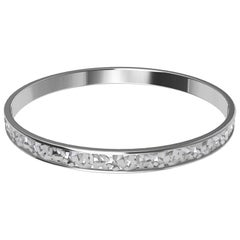 18 Karat White Gold Rectangles Bangle Bracelet