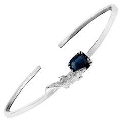 18 Karat White Gold Bracelet with 4.32 Carats Blue Sapphire