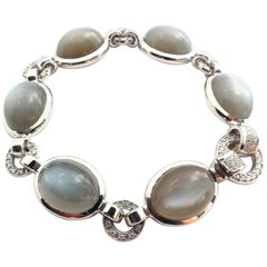18 Karat White Gold Bracelet with 6 Anthracite Moonstone Cabouchons 72 Diamonds