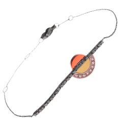 18 Karat White Gold Bracelet with Black and White Diamonds