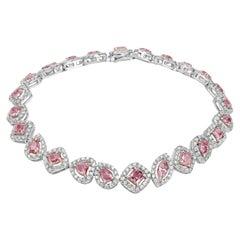 18 Karat White Gold Bracelet With Pink and White Diamonds