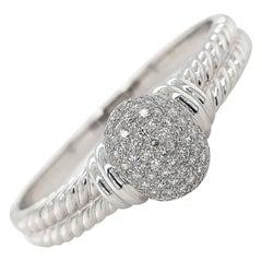 18 Karat White Gold Braided Bangle Bracelet with Diamonds