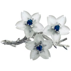 18 Karat White Gold Branch Brooch with Apple Blossom, Austria, 1960