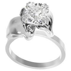 18 Karat White Gold Bridal Ring with GIA Certified 1.01 Carat Diamond
