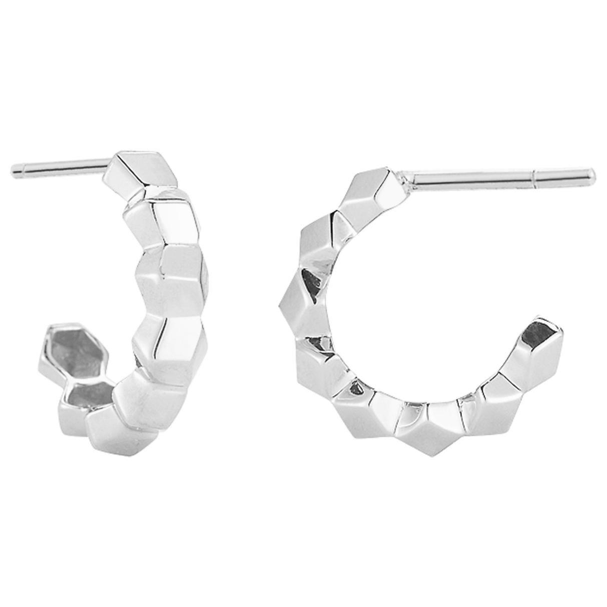 Paolo Costagli 18 Karat White Gold Brillante Hoop Earrings, Petite