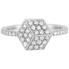 18 Karat White Gold Brillante Stackable Ring with Diamonds