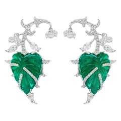 18 Karat White Gold, Brilliant Cut Diamond and Emerald Earrings