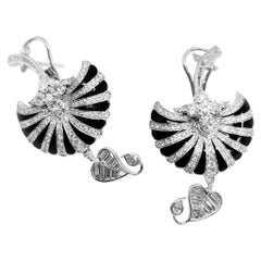 18 Karat White Gold, Brilliant Cut Diamonds and Enamel Earrings