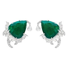 18 Karat White Gold, Brilliant Cut Diamonds and Emerald Studded Earrings