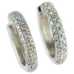 18 Karat White Gold Brilliant Diamond 0.71 Carat Pave Handmade Hoop Earrings