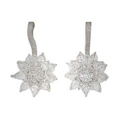 18 Karat White Gold, Brilliant and Rose Cut Diamond Lever Back Earrings