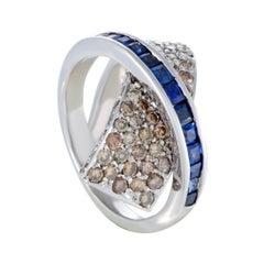 18 Karat White Gold Brown Diamond and Sapphire Criss-Cross Ring
