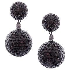 18 Karat White Gold Brown Diamond Pave Ball Drop Earrings