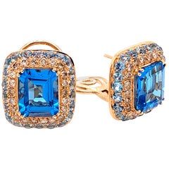 18 Karat White Gold Brown Diamonds and Blue Topaz Earrings