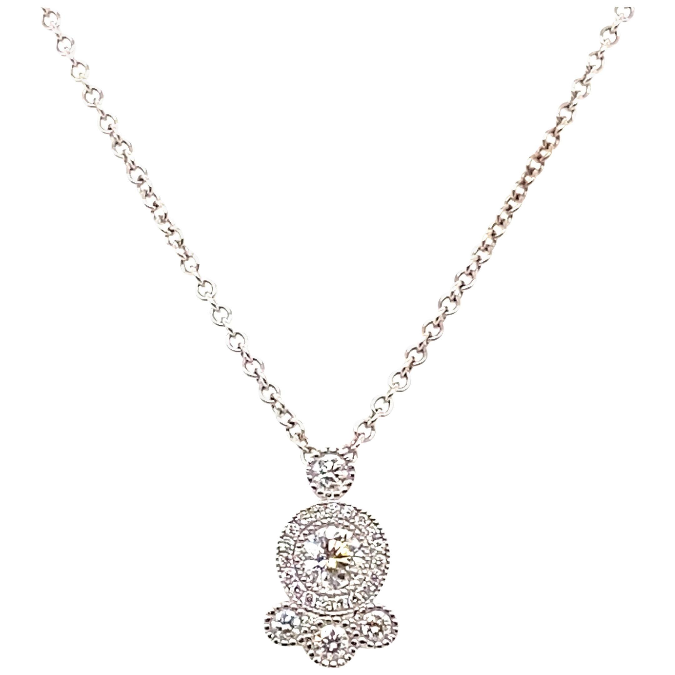 """18 Karat White Gold Diamond Pendant """"Bubble"""" Pendant"""