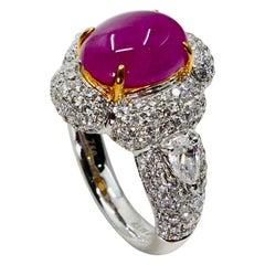 18 Karat White Gold Burma Pink Ruby 3.78 Carat and Diamond Cocktail Ring