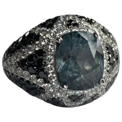18 Karat White Gold Blue Cobalt Spinel Ring with Black and White Diamonds