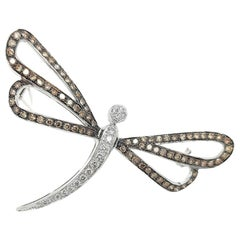 18 Karat White Gold Butterfly Brooch with White and Cognac Diamonds