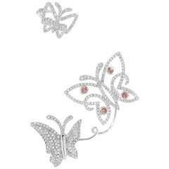 18 Karat White Gold Butterfly Ear Cuff Earring With Pink and White Diamonds