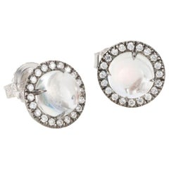 18 Karat White Gold Cabochon Moonstone and Diamond Stud Earrings