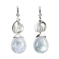 18 Karat White Gold Cabochon Moonstone Contemporary Drop Earrings with Diamonds