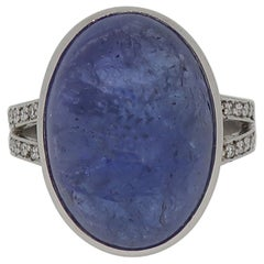 18 Karat White Gold Cabochon Tanzanite and Diamond Ring