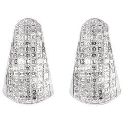 AS29 18 Karat White Gold Carre Bombee Pave Diamond Earrings