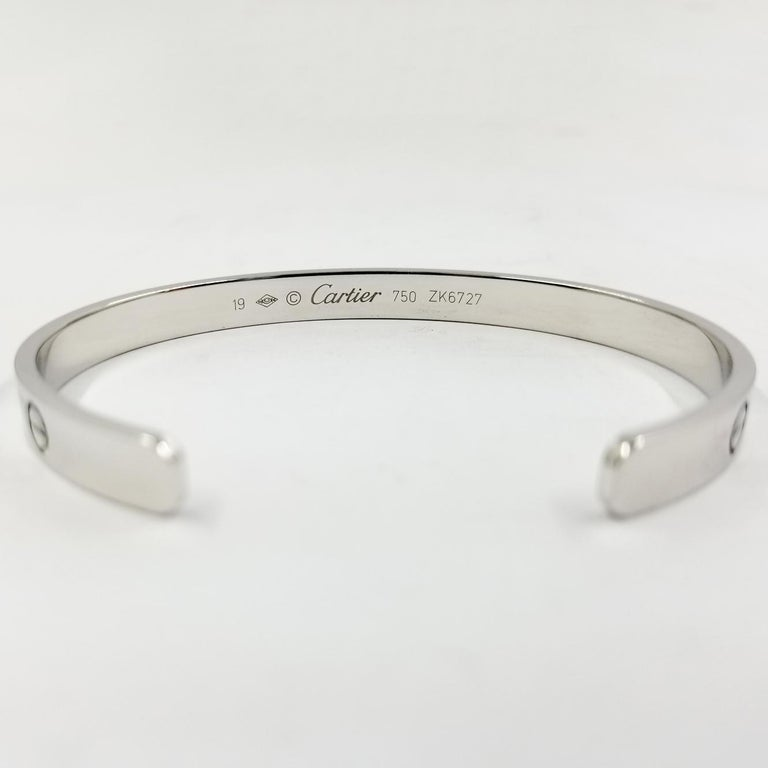 18 Karat White Gold Cartier Love Cuff Bracelet In Good Condition In Coral Gables, FL