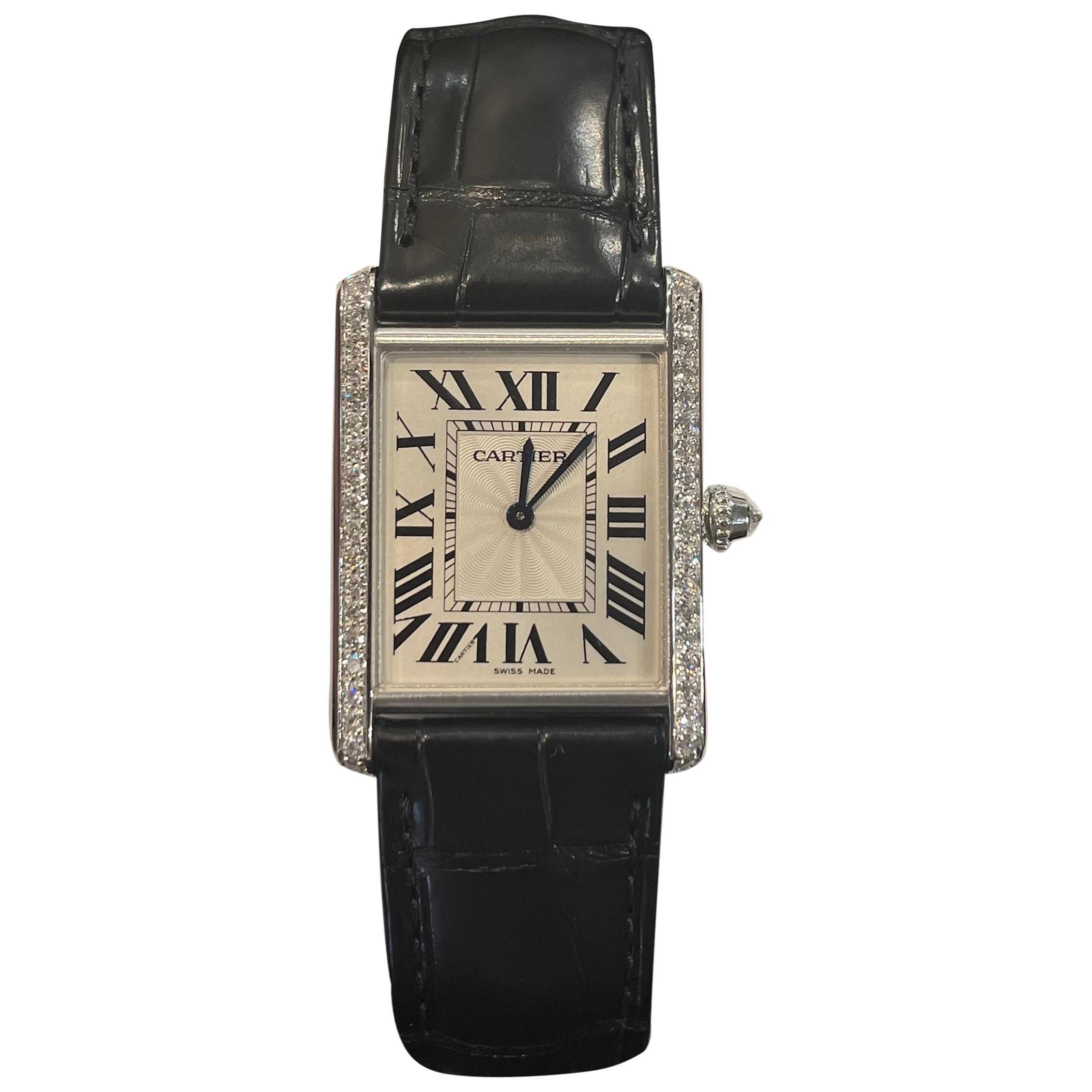 18 Karat White Gold Cartier Watch with Diamonds
