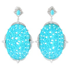 18 Karat White Gold Carved 48.03 Carat Turquoise Diamonds Earrings