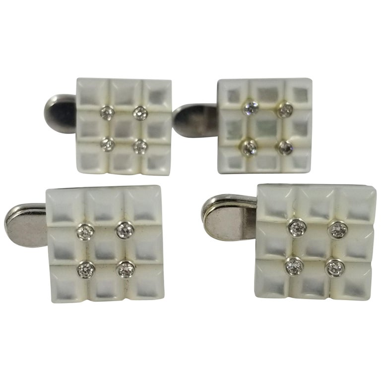 18 Karat White Gold Carved Mother of Pearl and Diamond Tuxedo Shirt Studs For Sale
