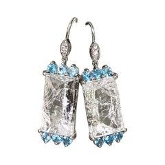 18 Karat White Gold Carved White Quartz Blue Topaz Diamond Drop Dangle Earrings