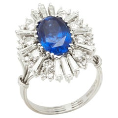 18 Karat White Gold Certified Burmese Sapphire and Diamond Cocktail Ring