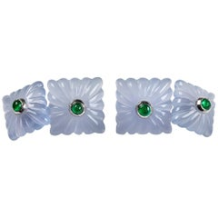 18 Karat White Gold Chalcedony and Emeralds Carved Cufflinks