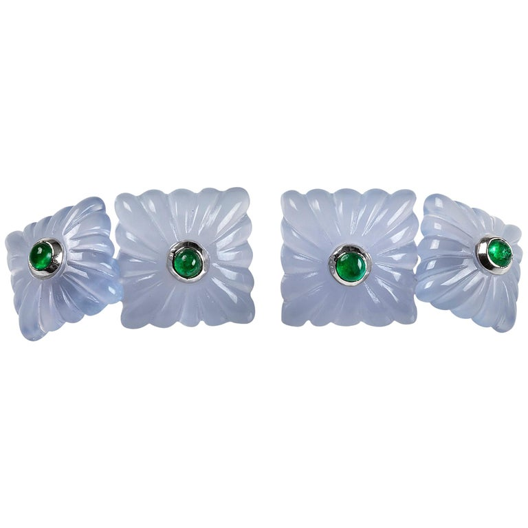18 Karat White Gold Chalcedony and Emeralds Carved Cufflinks For Sale
