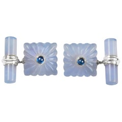 18 Karat White Gold Chalcedony Sapphires Carved Squared Cufflinks